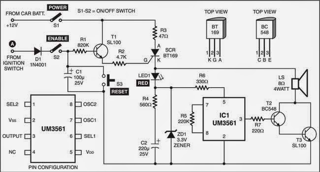 Anti-Theft Alarm For Vehicles Circuit Diagram
