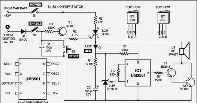 car theft alarm circuit diagram