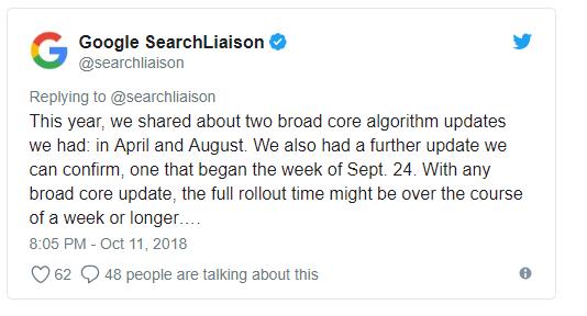 zmiana algorytmu Google 2018