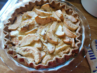 Pear Creme Pie, pears, spice and a delicious (non-dairy) creme filling.