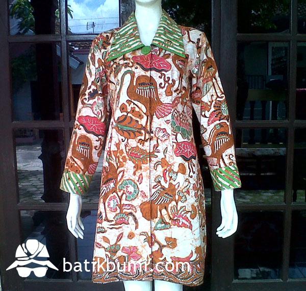 Tunik Batik Semi TULIS motif Burung w/ Trikot