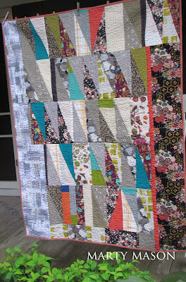hand quilted improv half-rectangle triangles by Marty Mason