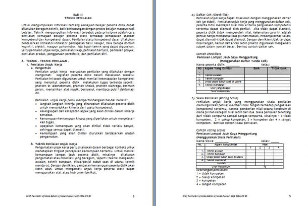 Model Penilaian Kelas SD MI KTSP Download Panduan Format Microsoft Word