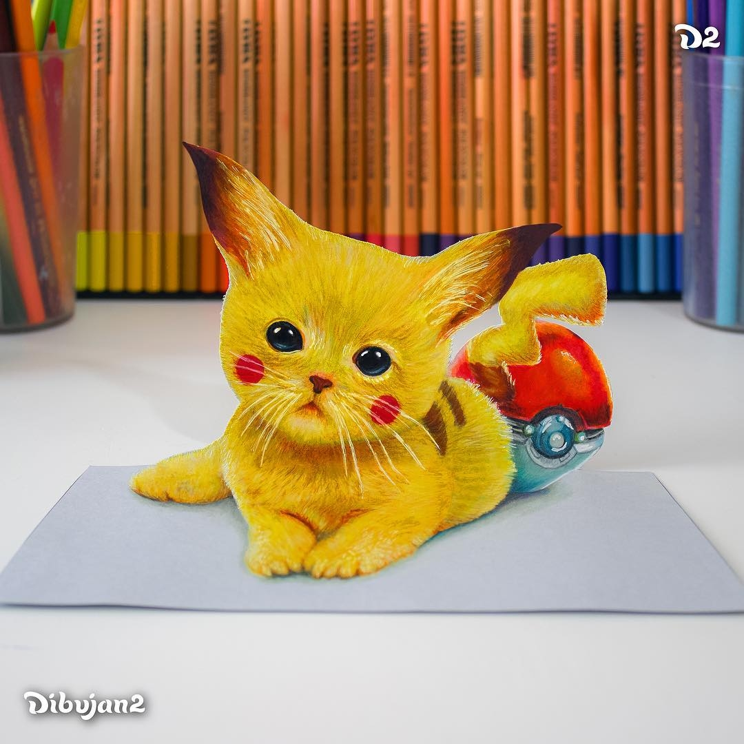 11-Pikachu-Miguel-Brito-3D-Illusions-with-Drawings-and-Illustration-www-designstack-co