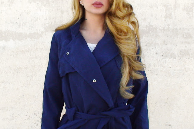 navy blue trench