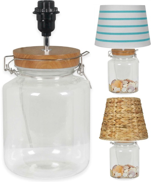 Fillable Glass Jar Lamp with Mix and Match Shades