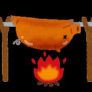 豚の丸焼きのイラスト