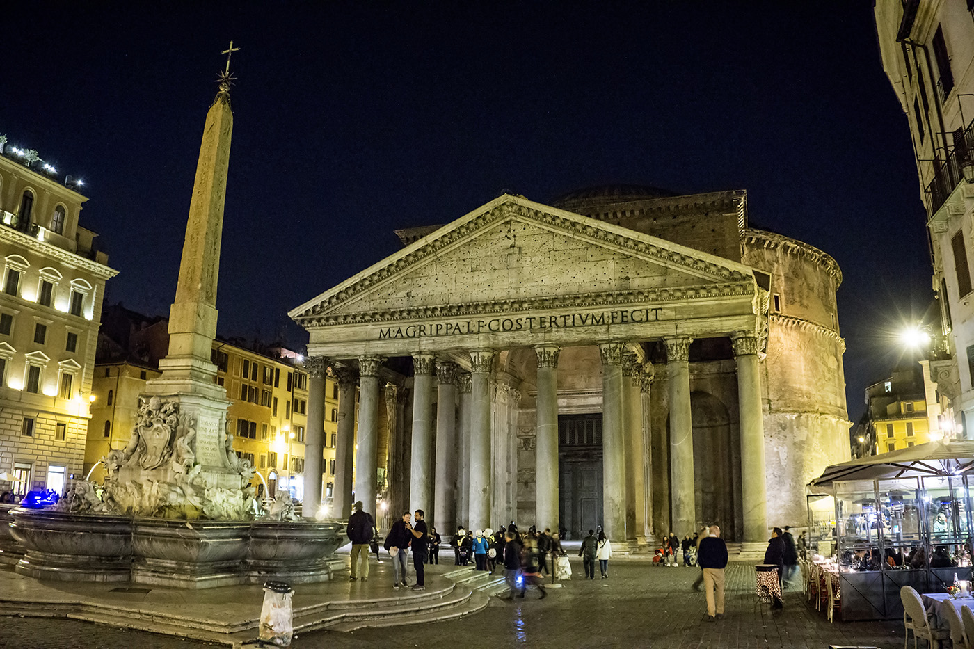 Photo of the Pantheon in Rome, Italy at night