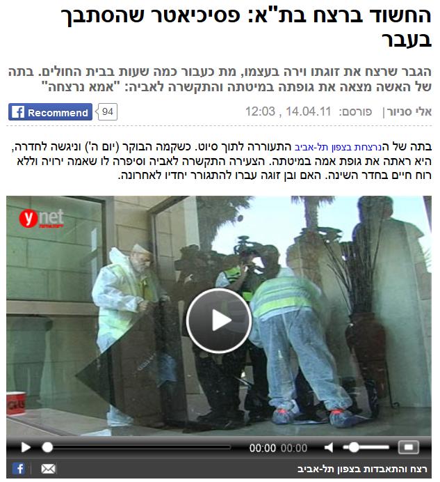 אפריל 2011 - פסיכיאטר ירה בבת זוגו בצפון תל אביב