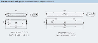 Ukuran Lampu TL Exproof Warom BAY51Q