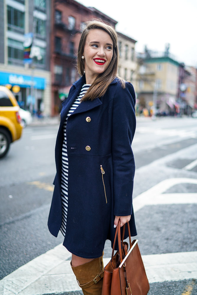 Krista Robertson, Covering the Bases,Travel Blog, NYC Blog, Preppy Blog, Style, Fashion Blog, Travel, Fashion, Style, NYC, Navy, Striped Dresses, Knee High Boots, Fall Looks, NYC Street Style, Navy Coats, Tan Boots