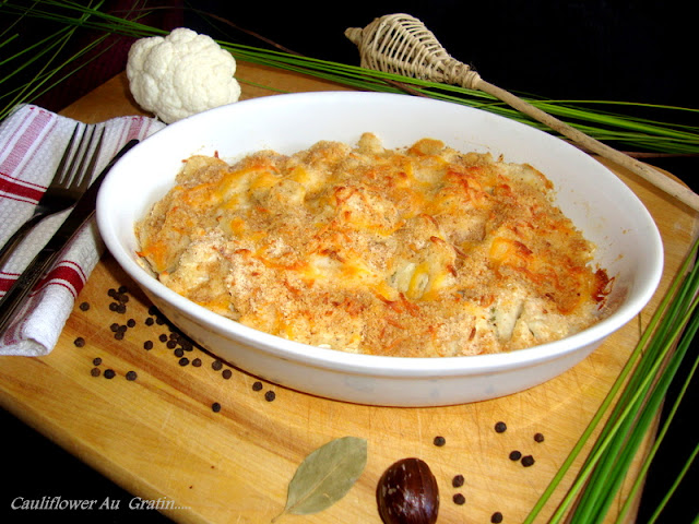 images for Cauliflower Au Gratin / Cauliflower In White Sauce Recipe / Cauliflower Bake Recipe