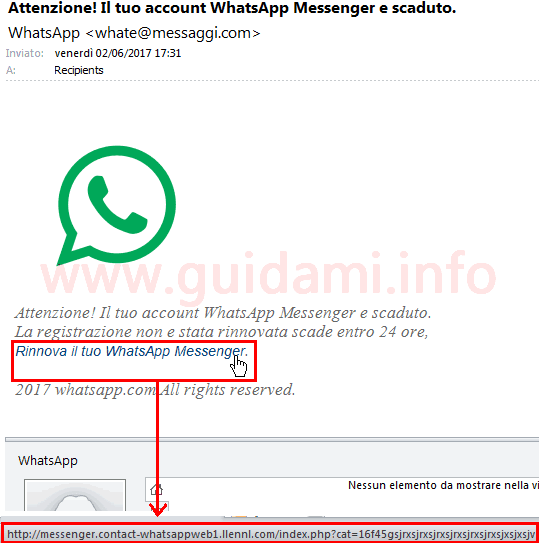 Contenuto reale link email phishing