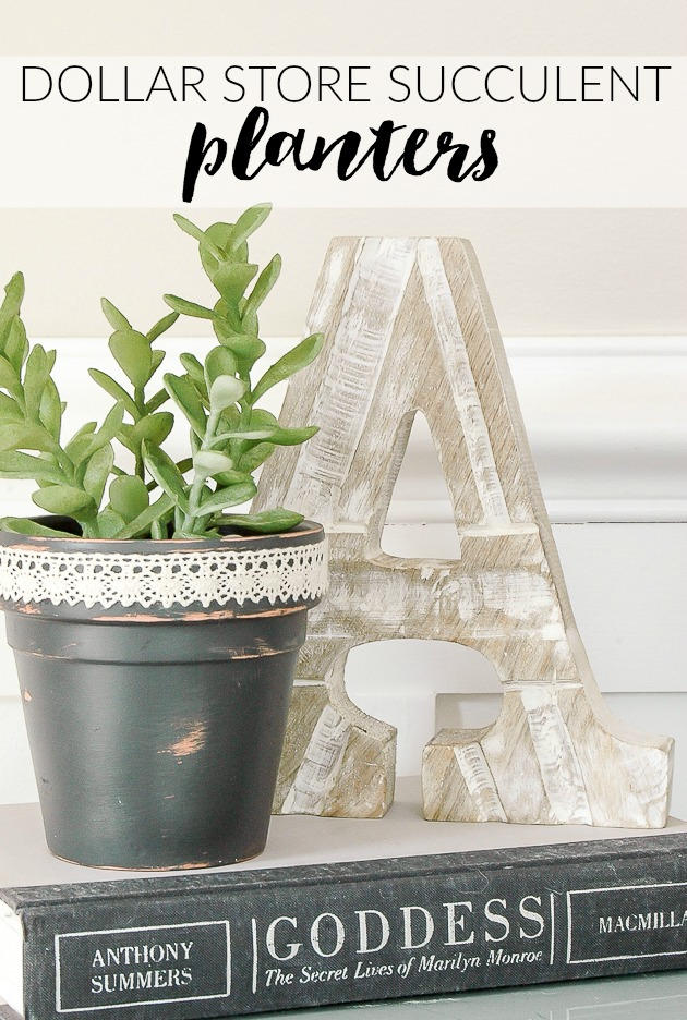 Painted and distressed Dollar Tree succulent pots