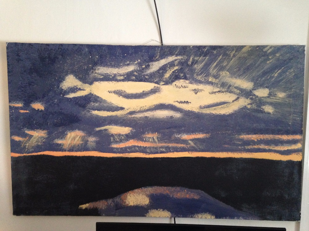What is the favorite piece of Art You own? Sunset over the River Painting