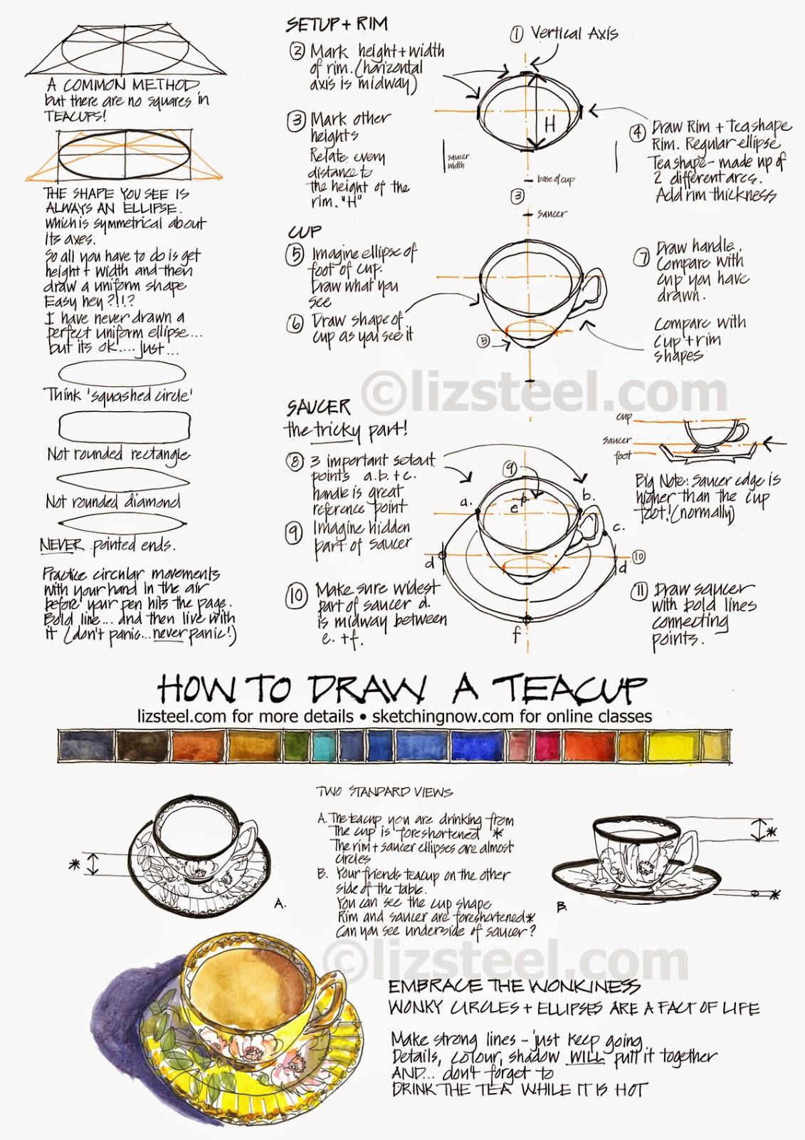 How To Draw A Teacup Download Liz Steel Liz Steel