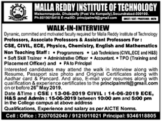 MRGI Assistant professors Jobs in Malla Reddy Institute of Technology  2019 Recruitment Walk-in Interview Secunderabad
