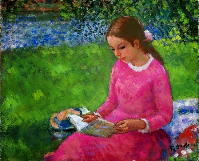 ecd95100635 Elizabeth-Anne en rose lisant à Auvers-sur-Oise