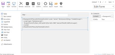 Using SPSecurityTrimmedControl in a SharePoint form