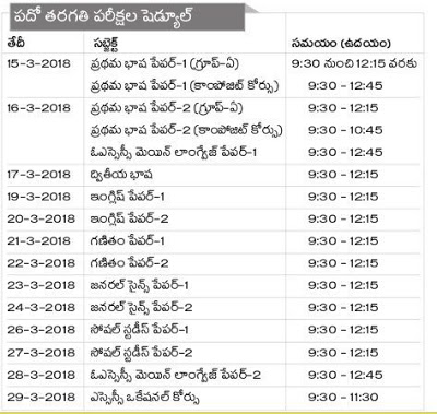 AP SSC MARCH 2018 EXAMS DATES for 2017-2018 Batch 10th Class Students In Andhra Pradesh State.AP SA2 (S.A-2/Summative 2/Summative Assessment 2/Public Exams) Tenth Class was released.SSC 10th Public Exams Time Table 2017-18 Download. The BSE AP has released the SSC Public Exams 10th Class Public Exams Time Table going to be held in the month of March 2018. SSC 10th Public Exams will start from 15th March 2018 and continues up to 29th Mar 2018.