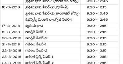 AP SSC(10th Class) Public Examinations Time Table(Schedule