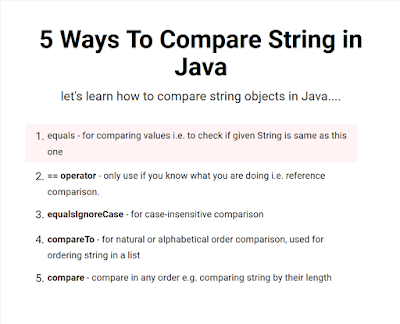 5 ways to Compare String Objects in Java - Example Tutorial | Java67