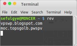 Command rev REVERSE di Terminal Linux