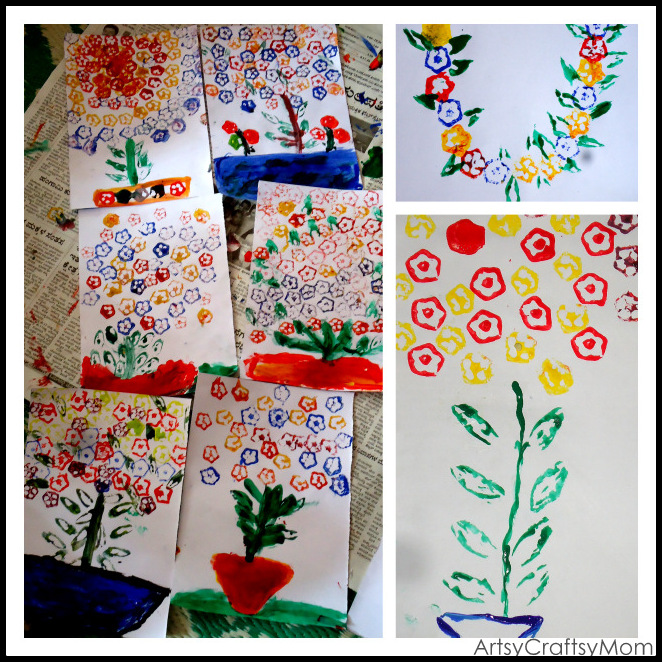 Volunteering with kids - Okra & french beans printing - Artsy ...