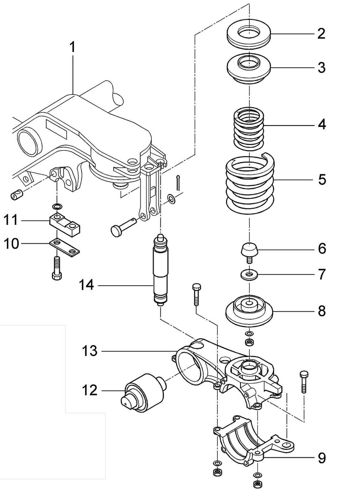hight resolution of primary suspension is implemented by two units of two steel coil springs internal 4 and external 5 laid out on the control arm upper part 13 by a