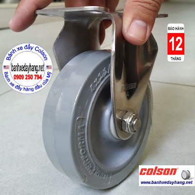 Bánh xe cao su 100x32mm càng inox 304 cố định Colson | 2-4408-444 www.banhxeday.xyz