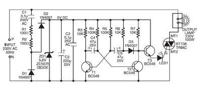 220V AC OPERATED CHRISTMAS LIGHT STAR CIRCUIT SCHEMATIC