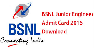 BSNL JE TTA Admit Card 2016