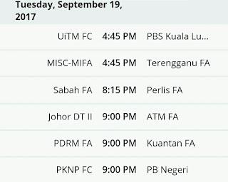 Jadual Dan Keputusan Terkini Liga Perdana Malaysia 2017
