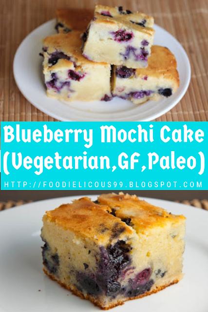 Blueberry Mochi Cake (Vegetarian,GF,Paleo)