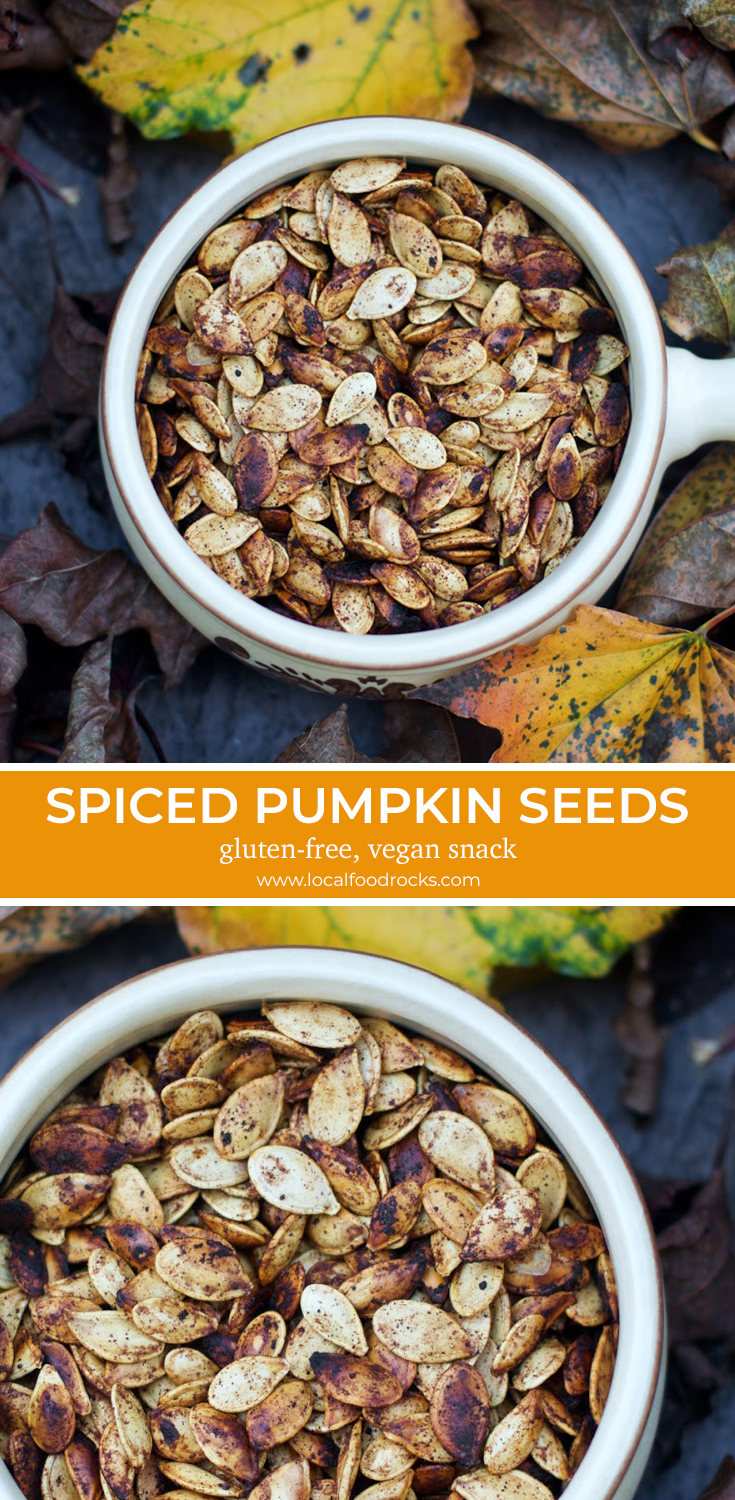 Don't let those seeds from your jack-o-lantern go to waste. Turn them into a pumpkin spiced gluten-free, vegan treat as addictive as potato chips. | Local Food Rocks
