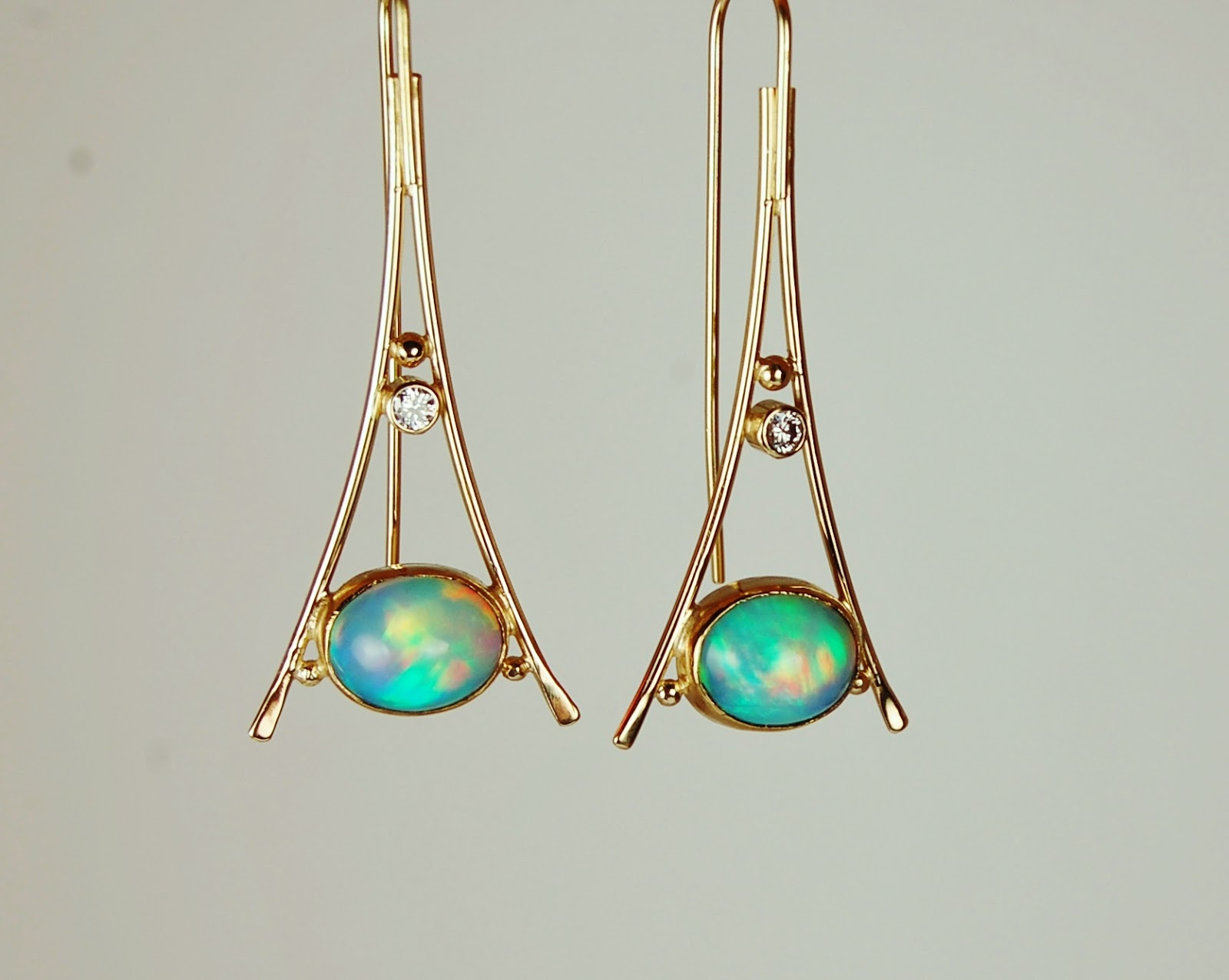 Beautiful Triangular Opal Earrings Boston Cambridge