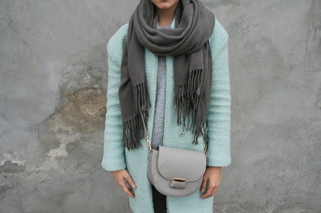Gray and mint green combination | Outfit of the day