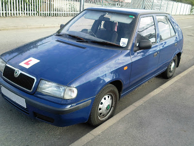 Blue Skoda Car Parked with L Plate