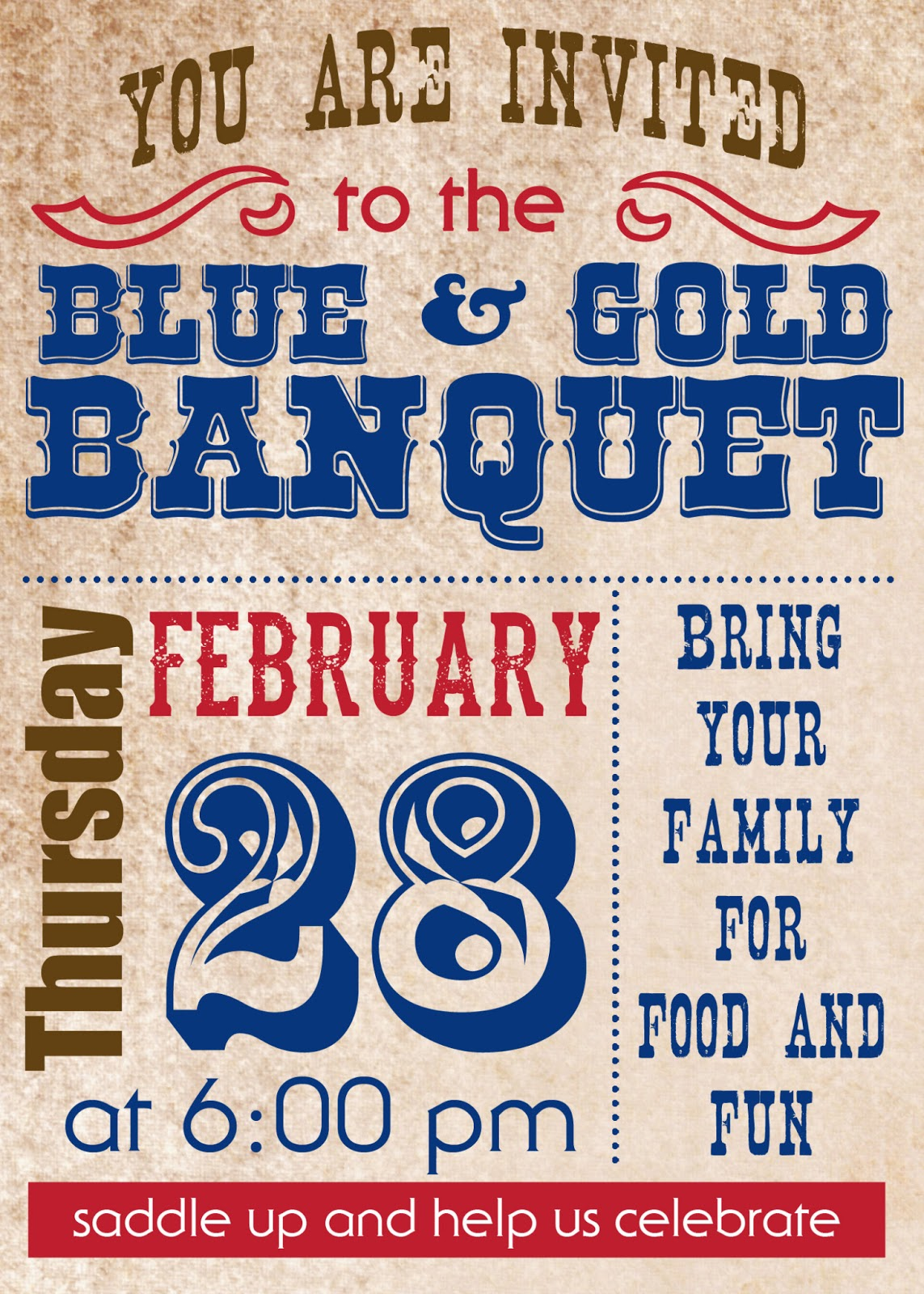 cowboy party blue and gold banquet style love and laundry