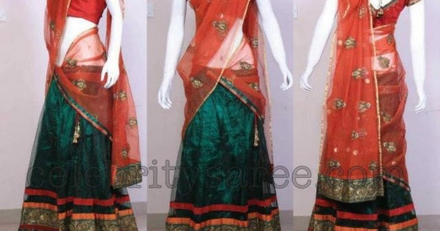 Designer Half Sarees on dark blue and gold border