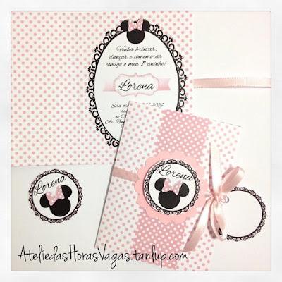 convite artesanal presonalizado aniversário infantil 1 aninho minnie mouse poá rosa bebê delicado menina