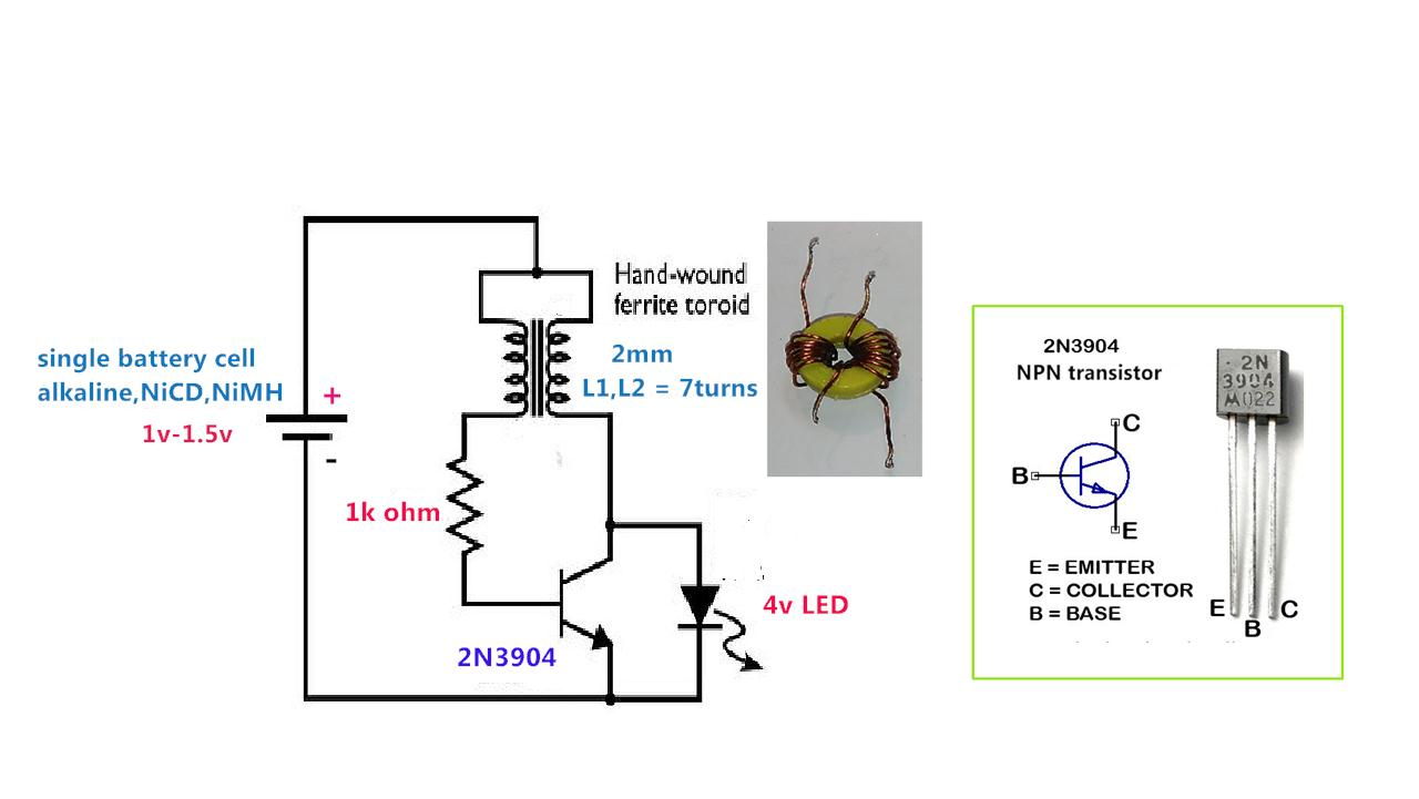 Power Gen Circuit Diagram List Part 2 Of Joule Thief Self Oscillating Voltage Booster Low To High