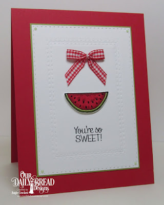 ODBD Thanks A Melon, ODBD Custom Watermelon Dies, ODBD Custom Double Stitched Rectangles Dies, Card Designer Angie Crockett