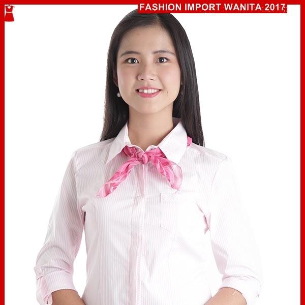 ADR121 Kemeja Wanita Pink Wanita Stripes Import BMG