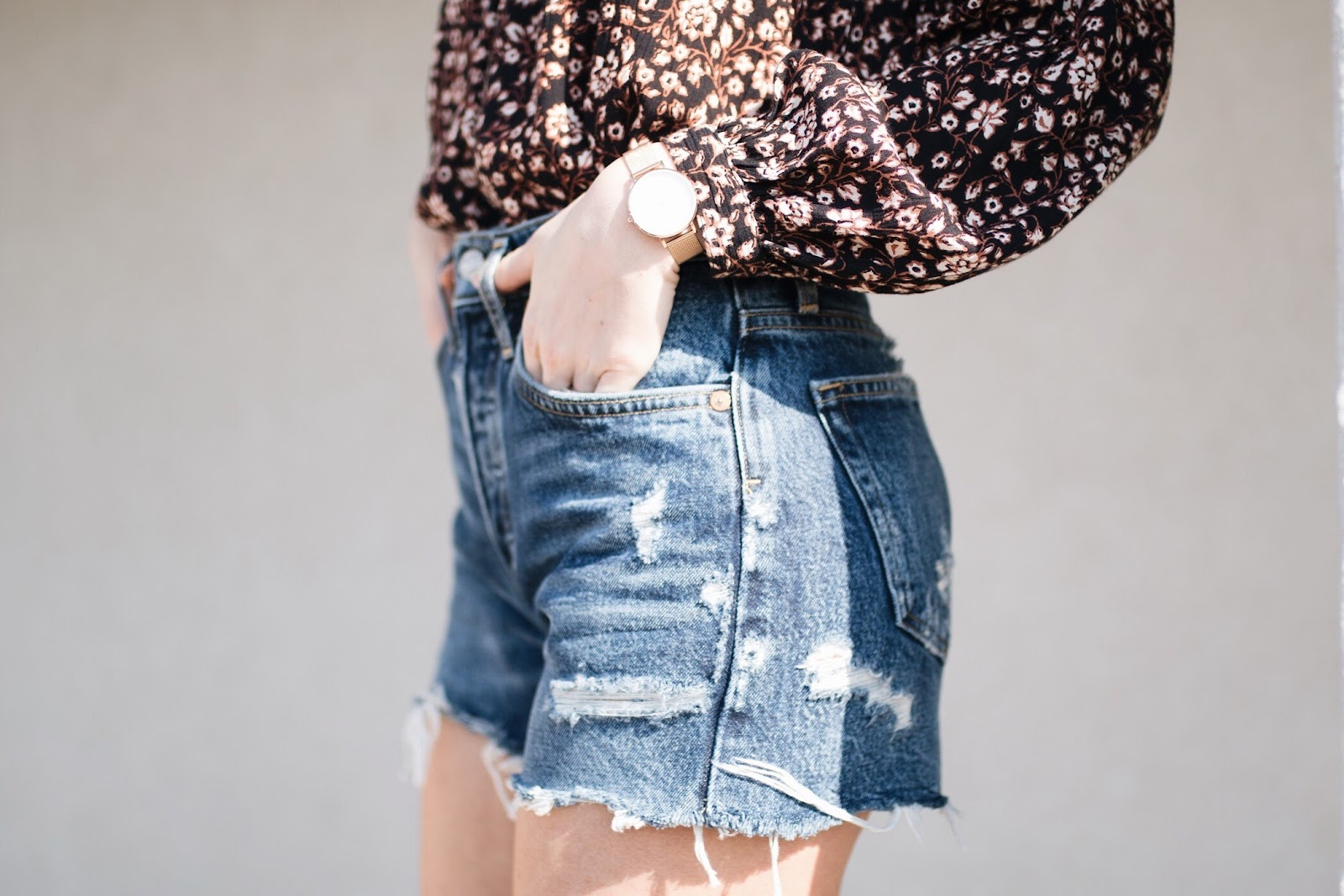 A Gold E high-waisted cutoff shorts