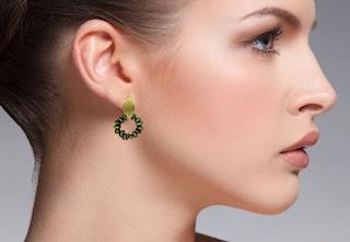 Perlen Ohrringe gold grün