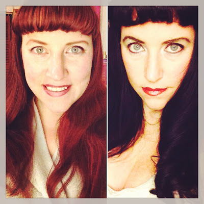 Bridget Eileen plus size pin up before and after pinup hairstyles from redhead to jet black hair
