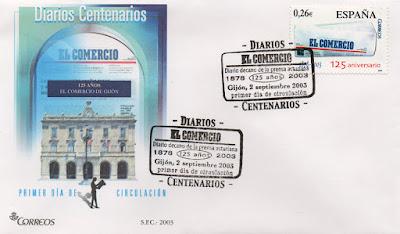 Sobre PDC del sello del 2003 dedicado al diario centenario El Comercio, Asturias
