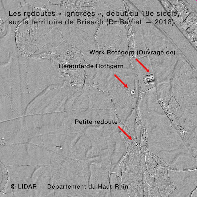 Redoutes du territoire de Brisach - LIDAR [fonds Département du Haut-Rhin]