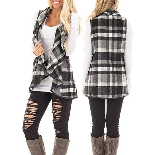 STYLEDOME Women Lapel Plaid Vest Cardigan Sleeveless Pocket Coat Jackets